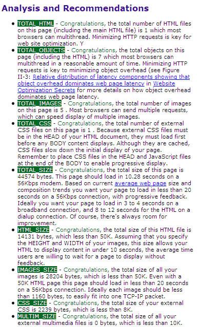 Recomendações de html